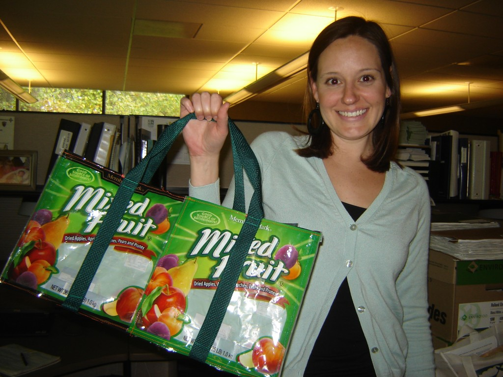 Stephanie with the bag that I made for her from dried fruit packaging