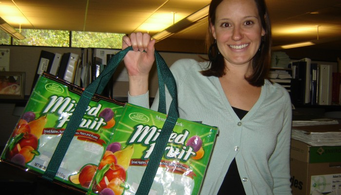 Stephanie with the juice pouch bag that I made her