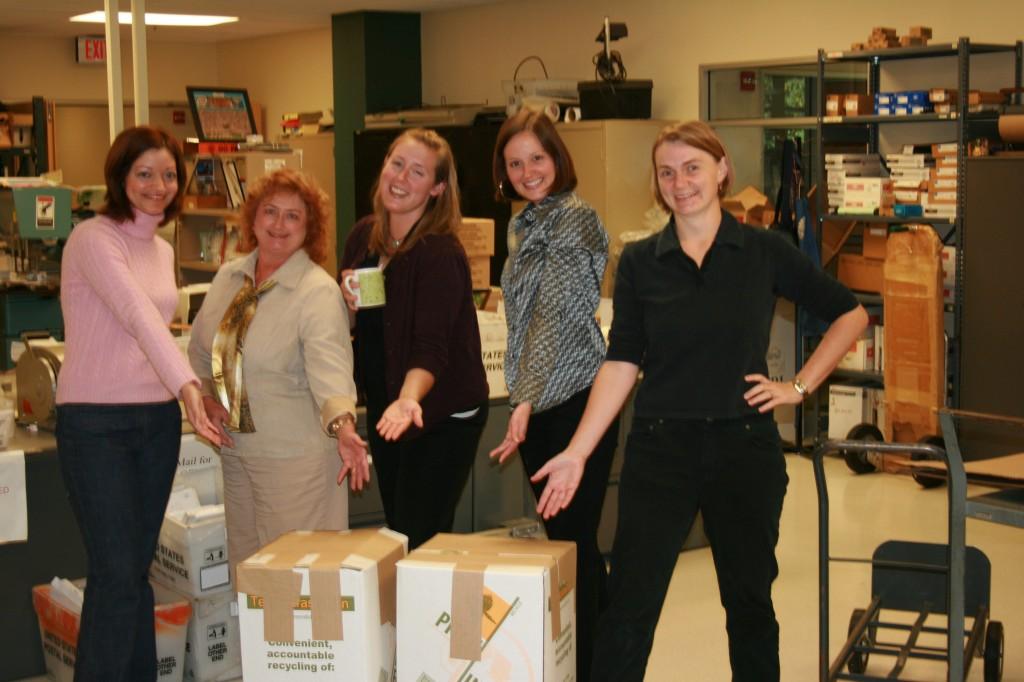 Jenn, Karen, Whitney, Stephane and me packing up technotrash
