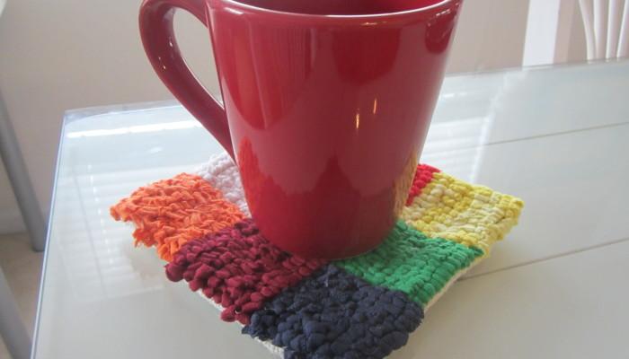 Recycled t-shirt mug rug