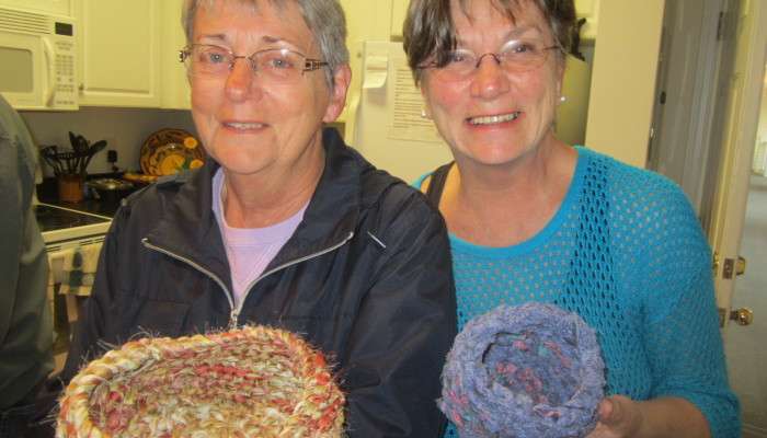 Juliene and Mom show their crocheted baskets