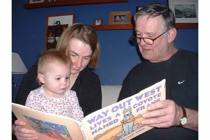 Uncle Jim reads to Nora, March 2005