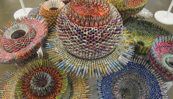Alex Lockwood's sculpture made from found lottery tickets