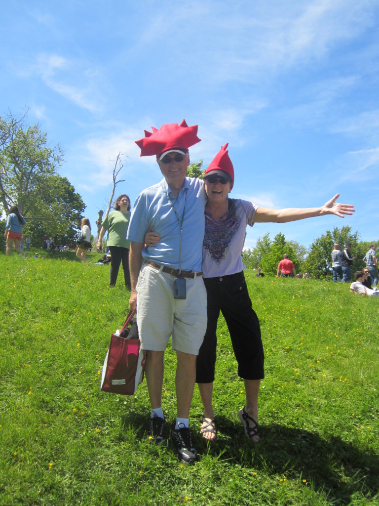 Mom and Dad showing their Canadian pride - Kinetic Sculpture Race 2013