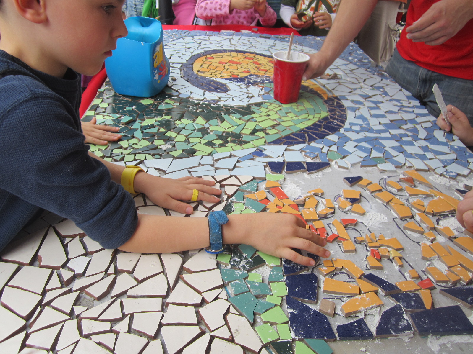 Making a mosaic at the Silver Spring Maker Faire
