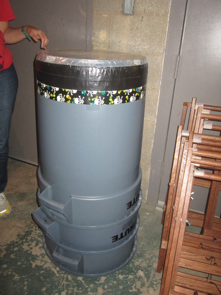 Practice taiko drum made from garbage can