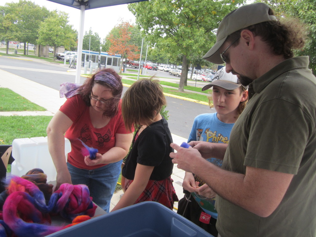 Learning how to make felted soap - Columbus Maker Faire