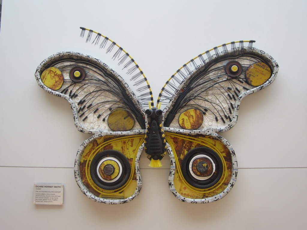 Ochre Hornet Moth sculpture by Michelle Stitzlein