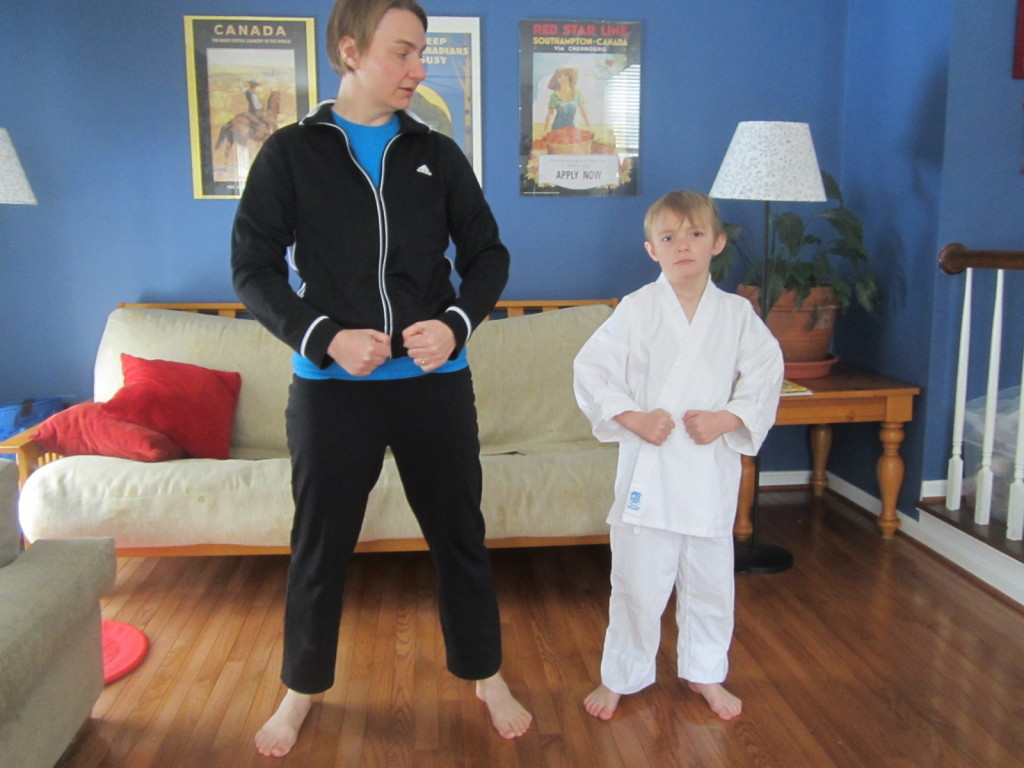 "Practicing tae kwon do with ""tough guy"" Russell"