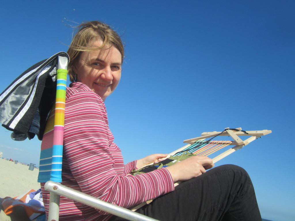 Weaving at the beach - blue sky