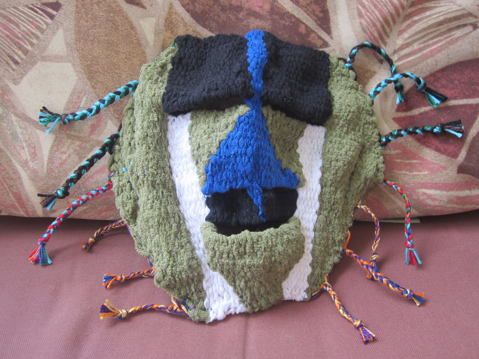 Completed woven mask from recycled t-shirts