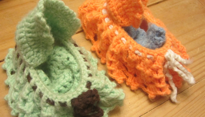 Crocheted doll beds from plastic dish soap containers