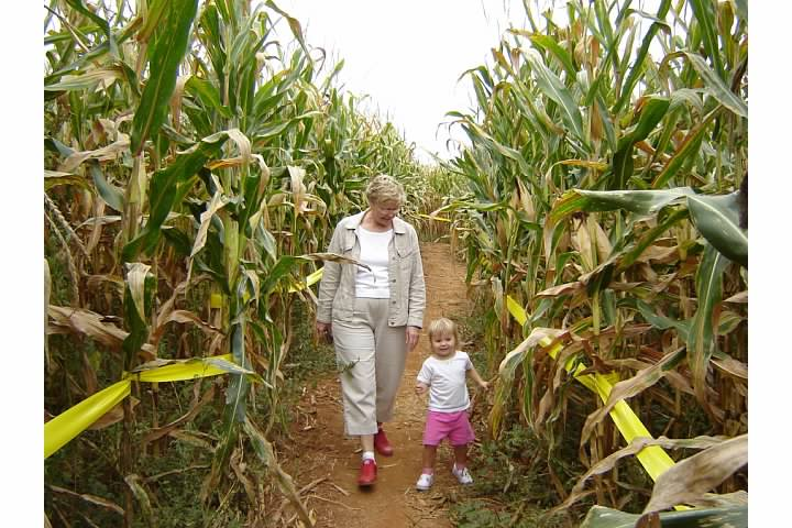 Nora and her grandmother Marilyn at the Corn Maze at the Plains - October 2005