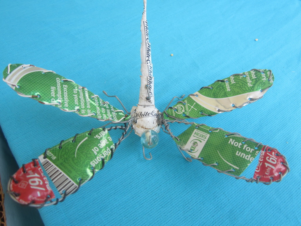 Dragonfly from recycled metal components