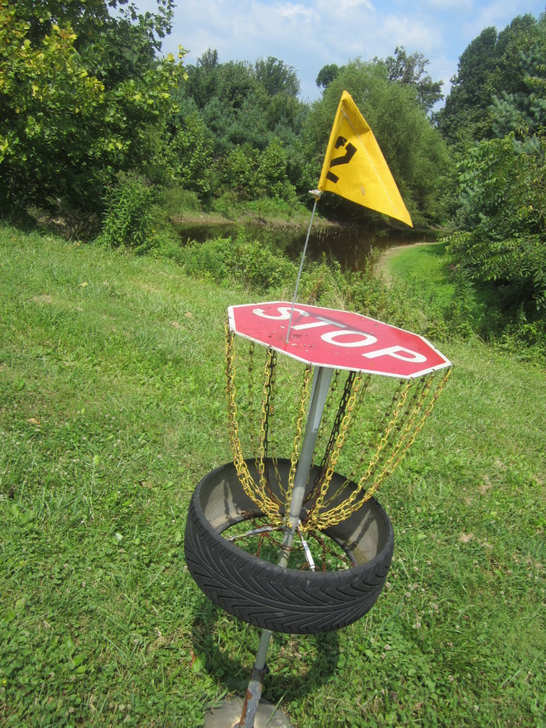 Stop Sign becomes Disc Golf Basket