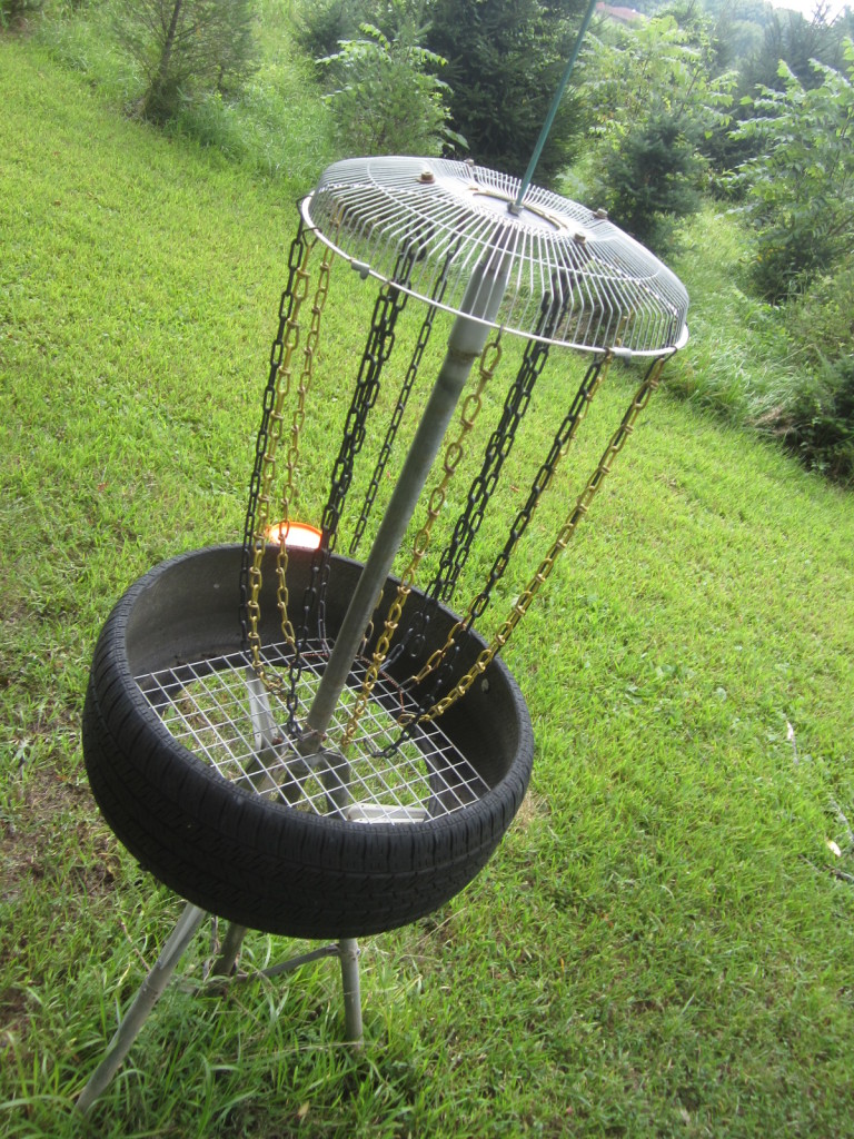 Electric Fan becomes Disc Golf Basket