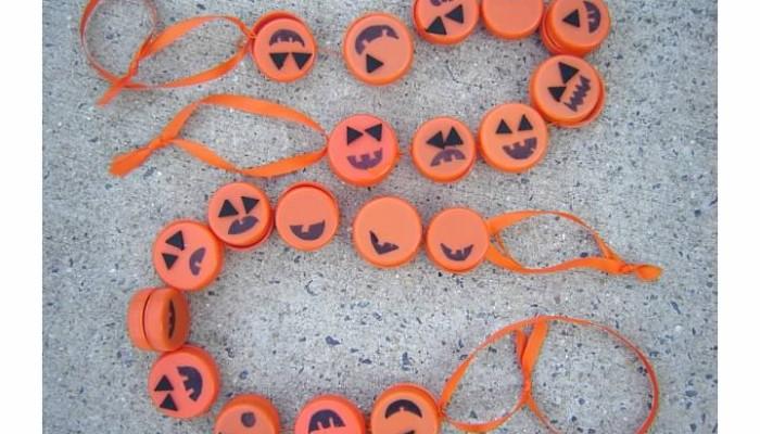 Pumpkin Garland from Orange Plastic Caps