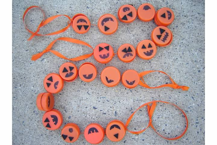 Pumpkin Garland from Orange Plastic Caps
