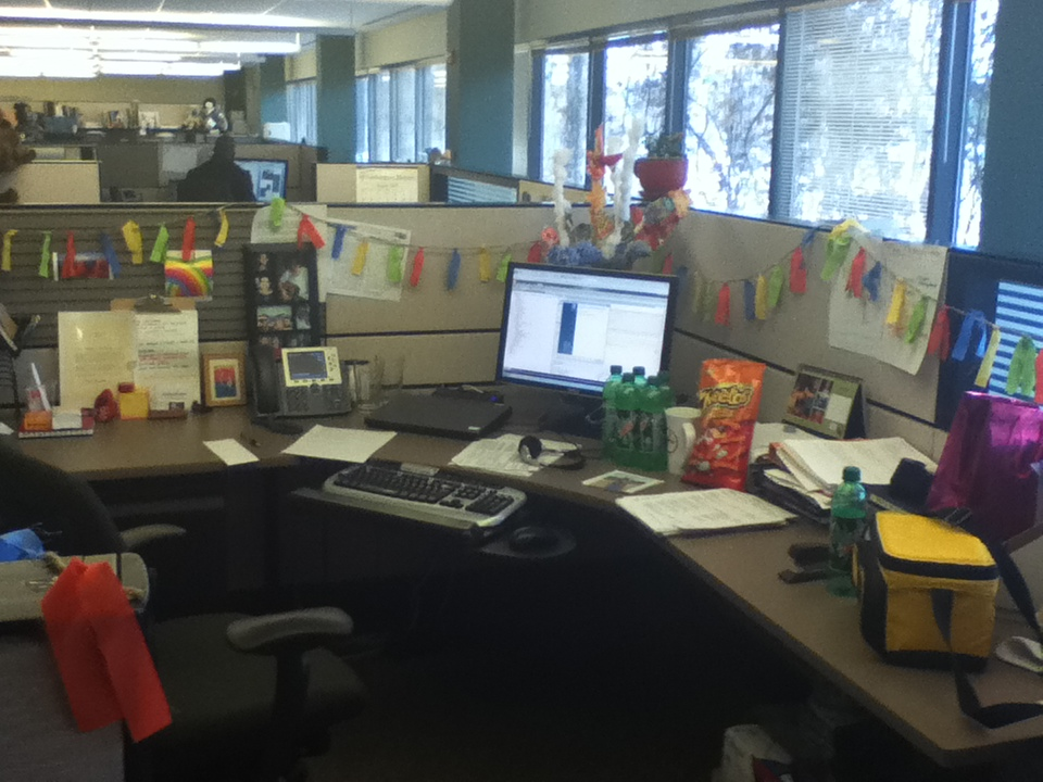 My cube decorated for my birthday, 2012
