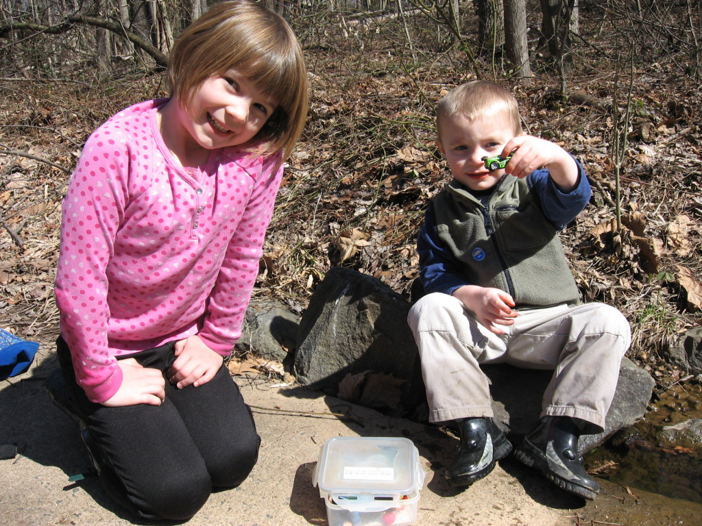 Finding our first geocache, 2010