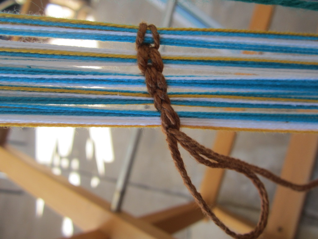 "My ""counting chain"" that shows I have 5 inches of warp completed"