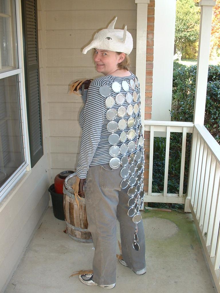 2003 Halloween costume - armadillo made from metal juice lids, milk jug head