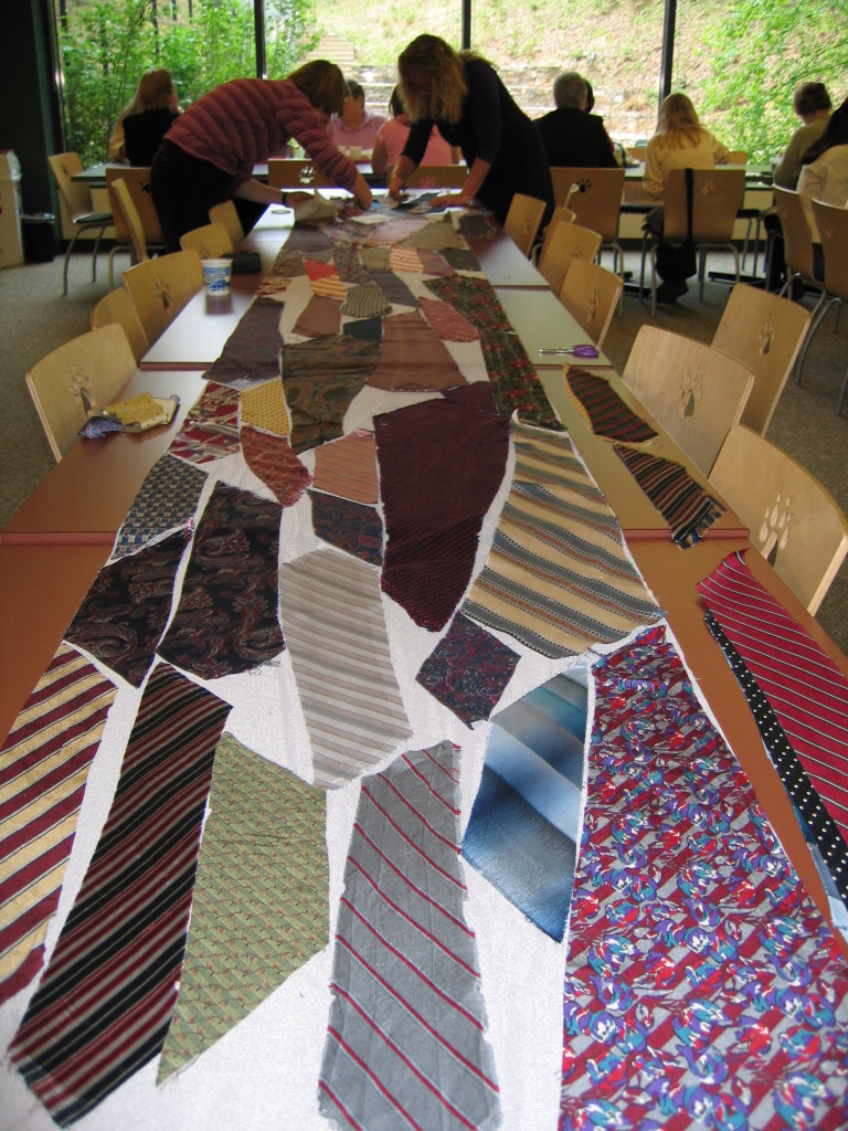Laying out ties during lunch break at work