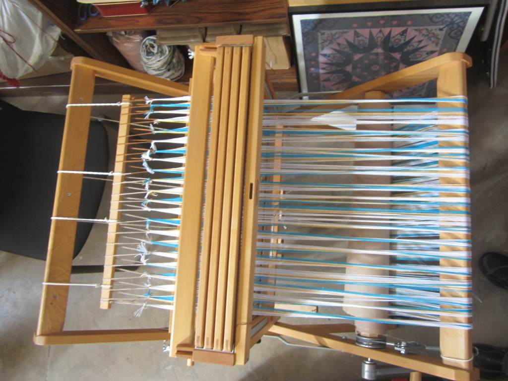 My fully threaded warp - showing its full journey through the loom