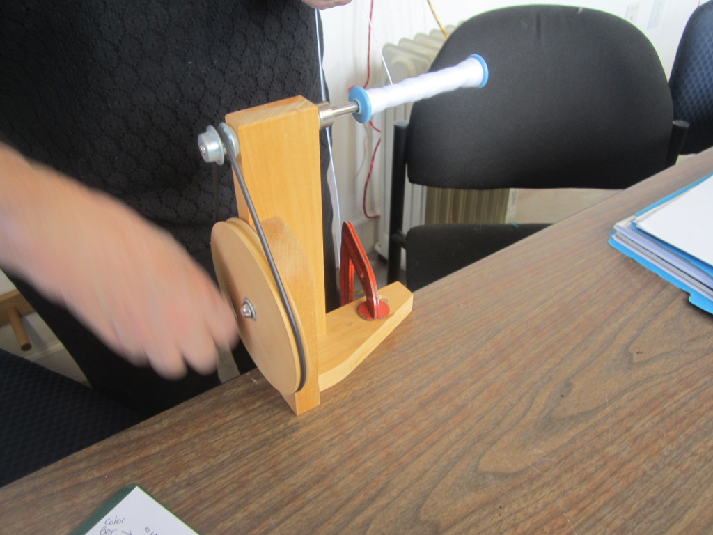 A hand-powered bobbin winder
