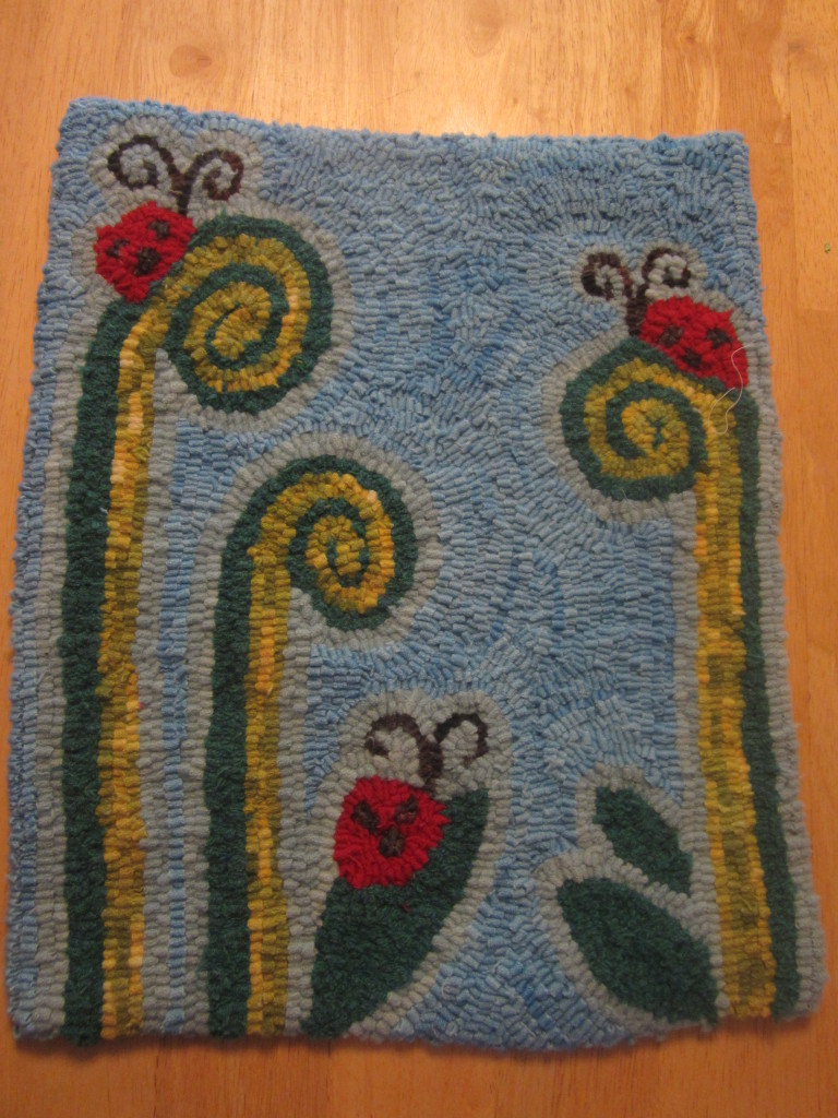 My fiddlehead rug, September 2012