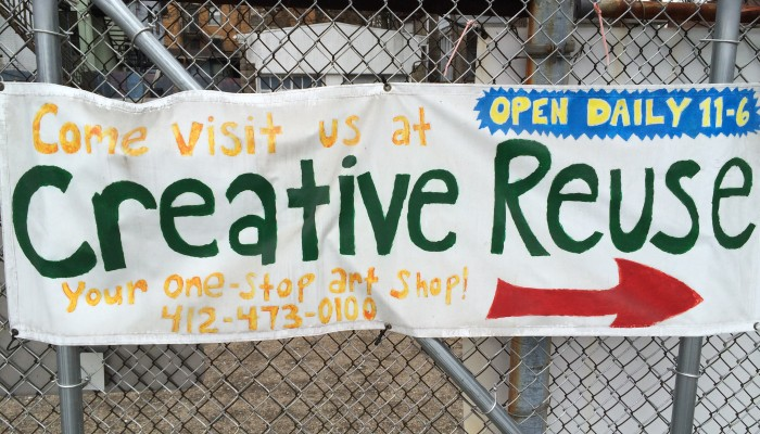 Welcome sign at the Pittsburgh Center for Creative Reuse