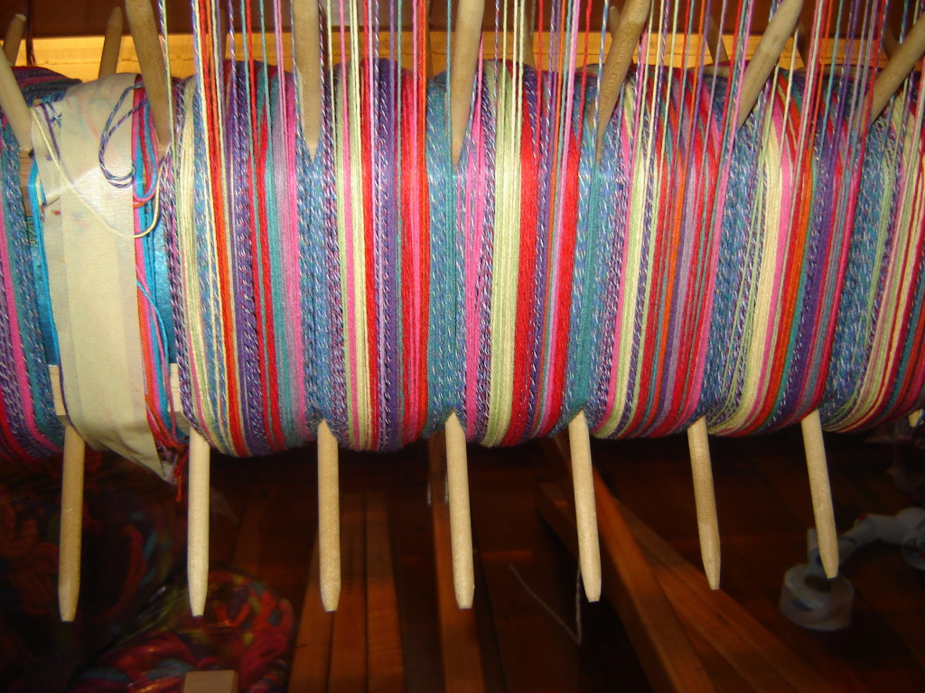 A warp on one of Hilary's looms