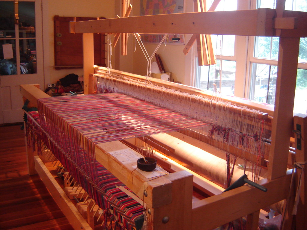 Sun streaming in to the weaving studio