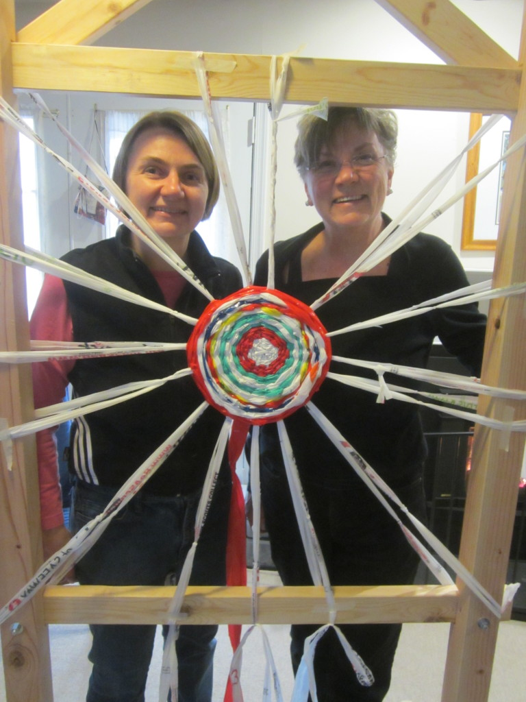 Me & mom weaving the recycled plastic bag spiral