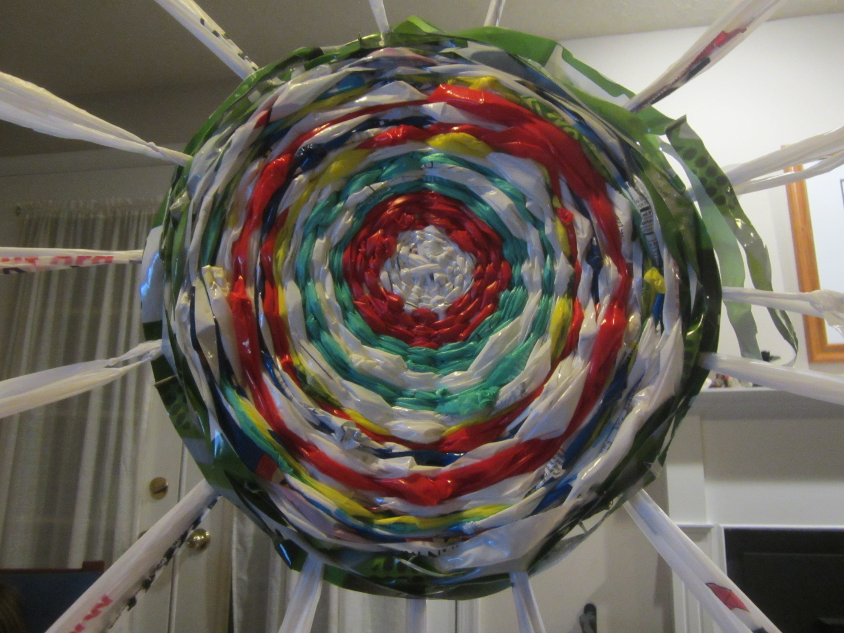 Woven spiral made from recycled plastic bags