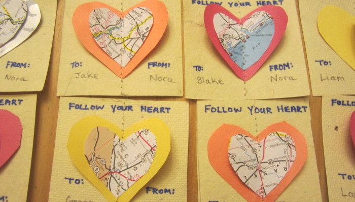Recycled map valentines - close-up