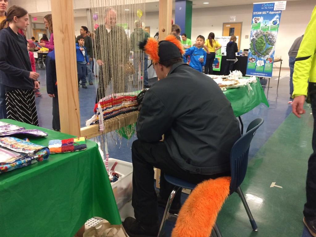 A fox weaving