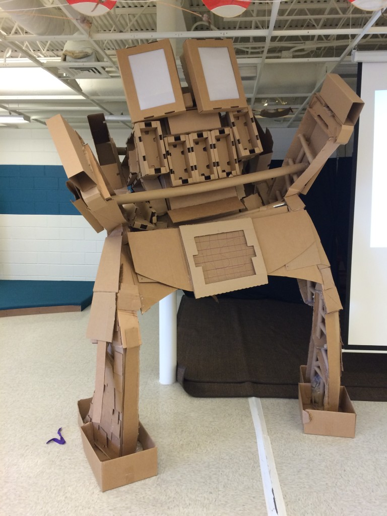 Giant cardboard robot at KID Museum