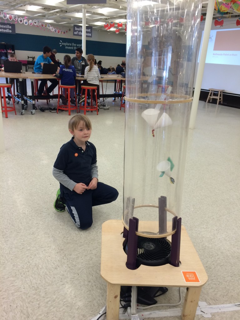 Aerodynamics activity with vertical wind tunnel at KID Museum