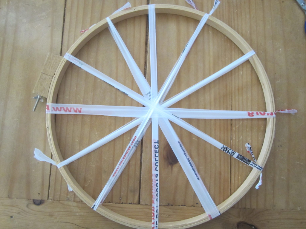 Spokes for your circle weaving on the embroidery hoop