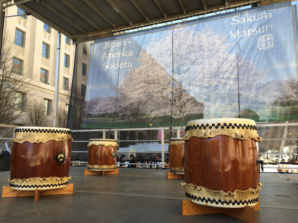 Nen Daiko's drums set up before the Cherry Blossom performance