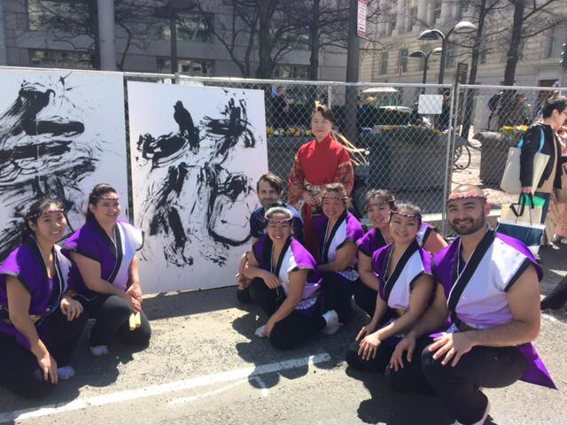 Nen Daiko members with calligraphy artist Bien Yoshino