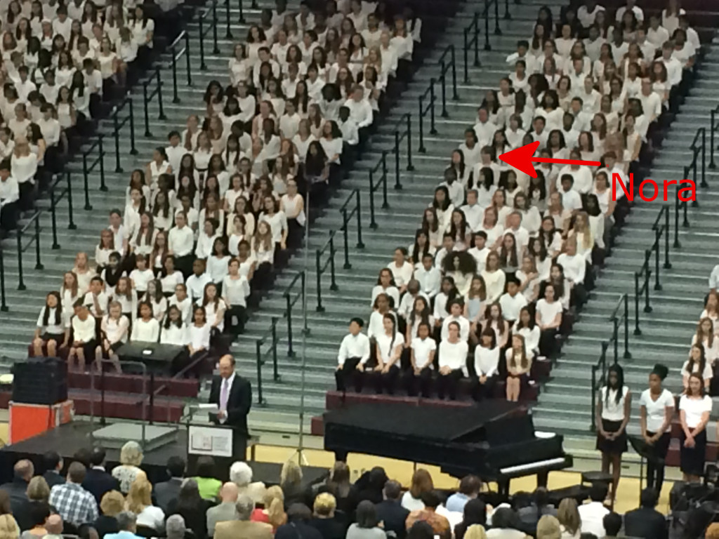 Nora at the All-County Sixth Grade Choral Festival in April 2015