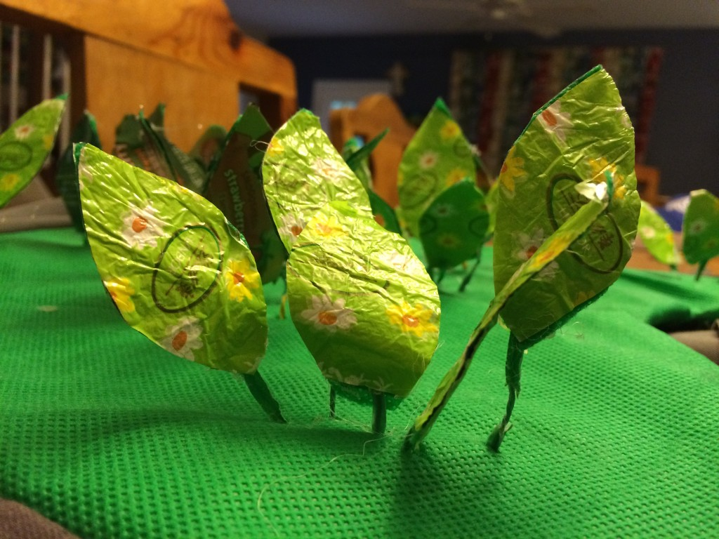 Leafy plants made from Lindt chocolate wrappers and twist ties