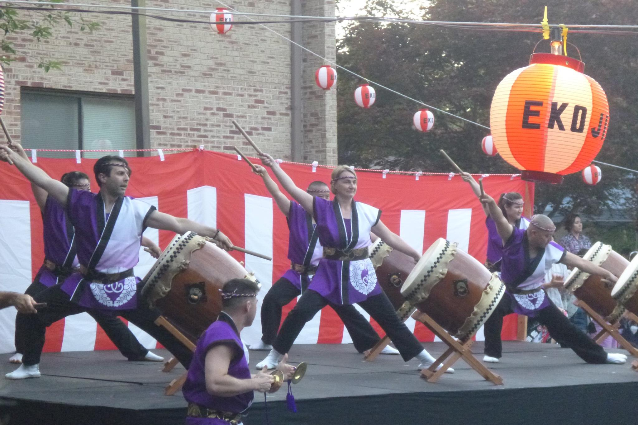 Nen Daiko playing Renshuu at the Obon Festival, July 2015