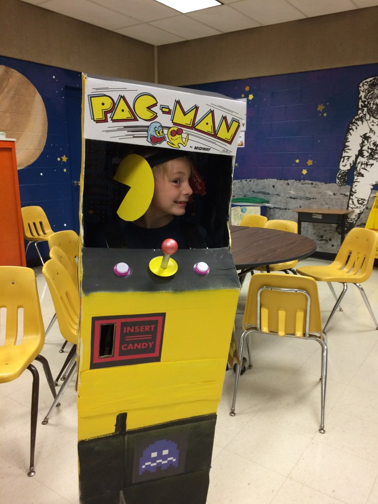 Russell wearing his Pac-Man Arcade Halloween costume