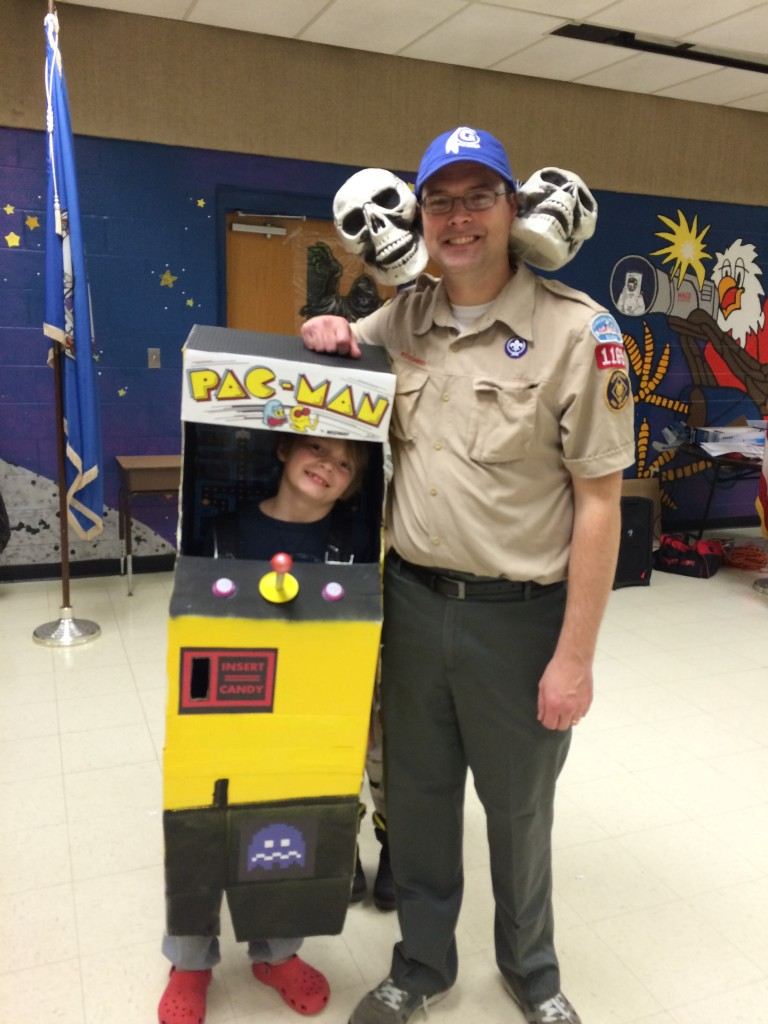 Bob & Russell wearing their Halloween costumes at the Cub Scout party