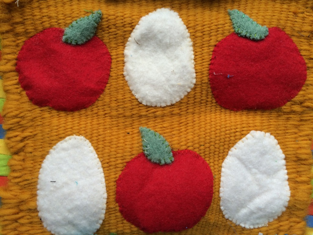 Apples and eggs - Creative Reuse block for Golden Moments weaving