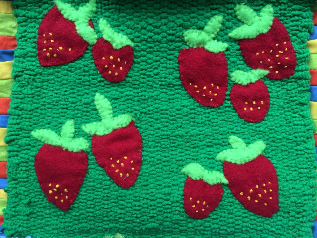 Strawberries - Creative Reuse block for Golden Moments weaving
