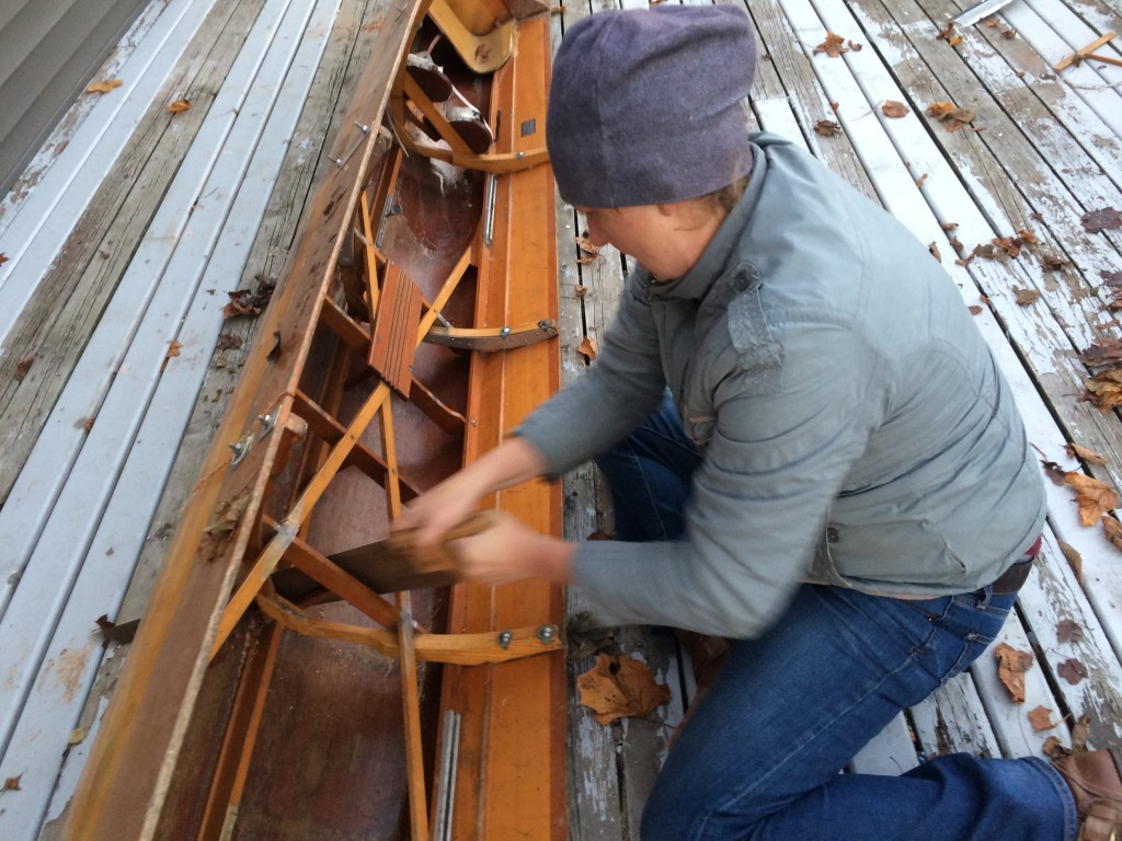 Cutting through the rowing shell